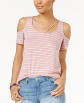Planet Gold Juniors' Striped Cold-Shoulder T-Shirt