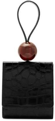 BY FAR Ball Crocodile Effect Leather Clutch Bag - Womens - Black