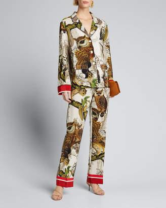 F.R.S For Restless Sleepers Owl Print Long-Sleeve 2-Pocket Silk Pajama Top