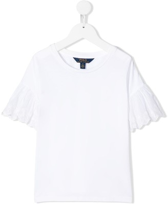 Ralph Lauren Kids lace-sleeve relaxed-fit T-shirt