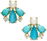 Kate Spade 14k Gold-Plated Blue Stone and Imitation Pearl Stud Earrings
