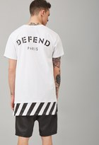 Forever 21 FOREVER 21+ Defend Paris Warning Stripe-Layered Tee