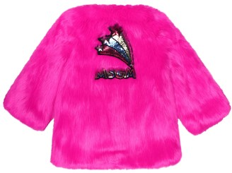 MSGM Kids Sequined faux fur jacket