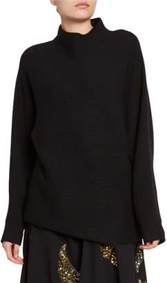 Dries Van Noten Ribbed Wool Mock-Neck Sweater