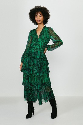 Coast Printed Long Sleeved Tiered Midi Dress