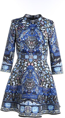 Couture Comino London Blue Hue Folk Print Skater Dress