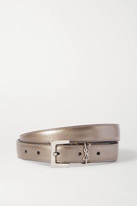 Saint Laurent Embellished Metallic Textured-leather Belt - Silver