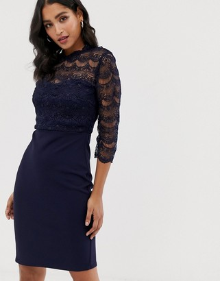 Paper Dolls scallop lace midi pencil dress