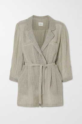 Le Kasha Belted Wrap-effect Linen Playsuit - Taupe