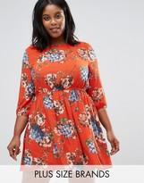 Koko Plus Skater Dress In Floral Print