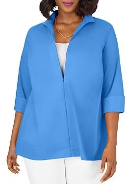 Foxcroft Plus Lydia Wing-Collar Zip Top