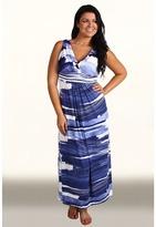 Karen Kane Plus - Plus Size Mesa Blues Pleated Print Maxi Dress (Print) - Apparel
