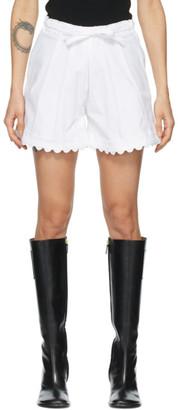 Kika Vargas White Elsie Scalloped Shorts