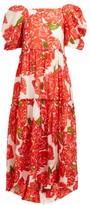 Rhode Resort Aurora Rose-print Voile Midi Dress - Womens - Red White