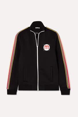 Miu Miu Striped Cotton-blend Jersey Track Jacket - Black