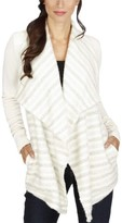Lucky Brand Womens Mixed Media Striped Cardigan Sweater