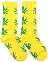 Spring Fever Unisex Marijuana Weed Leaf Printed Crew Socks(Orange/Black)