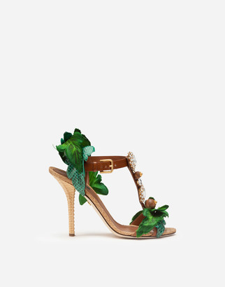 Dolce & Gabbana Sandals In Cowhide With Leaf Applique And Bejeweled Embroidery