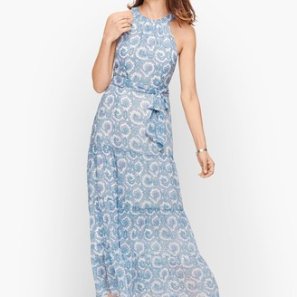 Talbots High Neck Paisley Tiered Maxi Dress