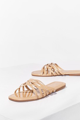 Nasty Gal Womens Who's Slide Are You On Faux Leather Flat Sandals - Beige