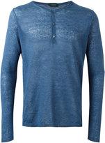 Zanone henley T-shirt - men - Linen/Flax - 48