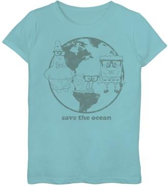 Nickelodeon Girls 7-16 SpongeBob SquarePants Group Save The Ocean Earth Day Text Graphic Tee