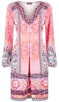 Hale Bob Paisley Embellished Neck Shift Dress