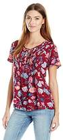 Lucky Brand Women's Red Floral Peasant Top