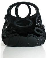 Alejandro Ingelmo Black Patent Leather Stitched Detail Large Cutout Handbag