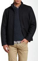 Perry Ellis Zip Front Melton Faux Leather Trim Coat