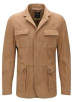 HUGO BOSS T-Norvis Regular Fit, Tailored Suede Jacket 40R Open Beige