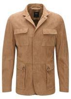 HUGO BOSS T-Norvis Regular Fit, Tailored Suede Jacket 42R Open Beige