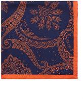 Barneys New York Men's Paisley-Print Silk Twill Pocket Square-NAVY
