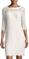 Nicole Miller New York Open-Back Lace Sheath Cocktail Dress, Ivory