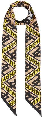 Burberry Logo Graphic Print Skinny Scarf