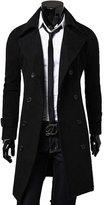 Yesimai Fashion Men Woolen Coat Winter Autumn Slim Double Breasted Overcoat Jacket Winter Coats (XL, )