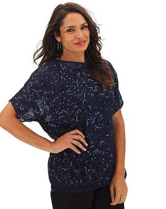 Jd Williams Navy All Over Embellished Sequin Top