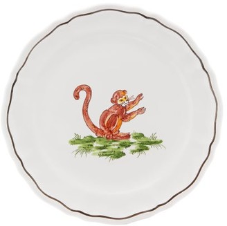 Zdg - Safari Hand-painted Faience-ceramic Side Plate - White Multi