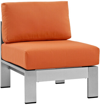 Modway Outdoor Shore Armless Sectional Outdoor Patio Aluminum Chair