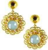 Ottoman Hands - Aqua Chalcedony and Pearl Beads Flower Earrings