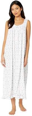 Eileen West Cotton Modal Texture Knit Jersey Sleeveless Ballet Nightgown (White Ground/Floral Stripe) Women's Pajama