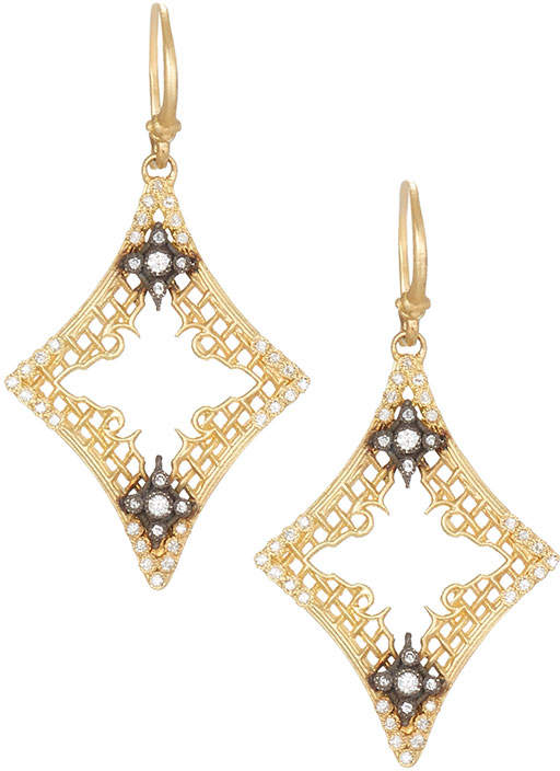 Armenta Old World 18k Open Mesh Drop Earrings w/ Diamonds