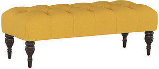 One Kings Lane Stanton Tufted Bench - Mustard Linen