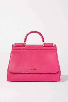 Dolce & Gabbana Sicily Small Textured-leather Tote - Pink