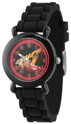 Disney Cars 3 Boys' Lightning McQueen Black Plastic Time Teacher Watch, Black Silicone Strap