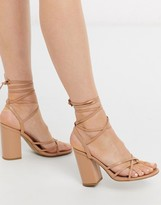 New Look toe post strappy tie up heeled sandals in beige