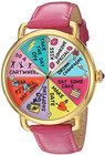 betsey johnson womens quartz metal and leather casual watch colorpink model bj0021213