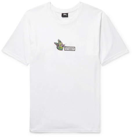 Stussy Embroidered Logo-Print Cotton-Jersey T-Shirt - Men - White