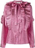Gucci lurex pleated shirt - women - Silk/Metallized Polyester - 38