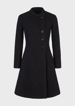 Emporio Armani Boucle Coat With Off-Centre Closure